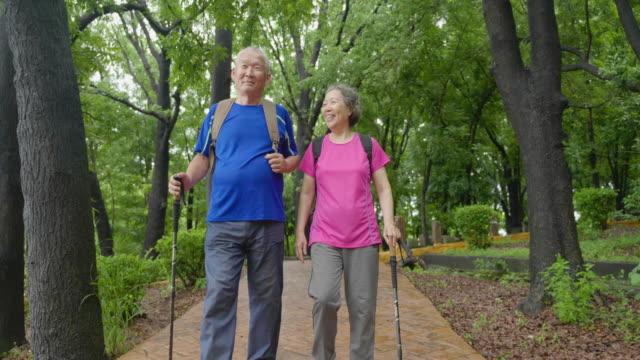 ハイキングを楽しむ休暇で幸せなアジアのシニアカップル - 東アジア点の映像素材/bロール