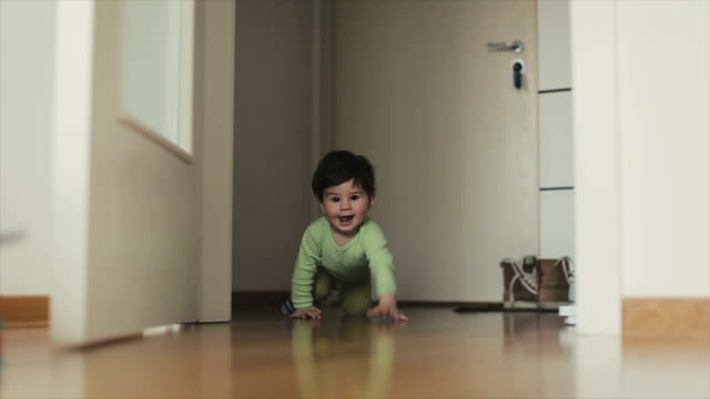 Happy baby crawling video