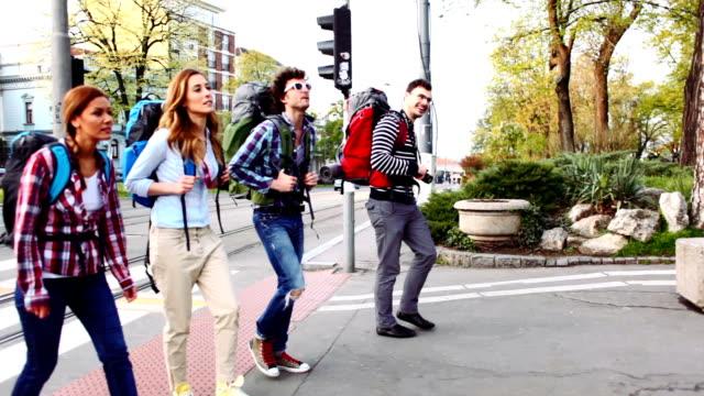 HD: Happy Backpackers Crossing The Street. video