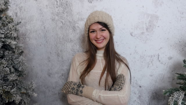 happy beautiful girl smiling in winter clothes video