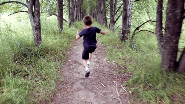 A happy beautiful little boy running through the park jumping and smiling in a summer sunny day video