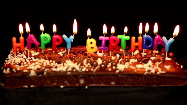 Surprising Happy Birthday Cake And Candles Stock Video Download Video Clip Personalised Birthday Cards Veneteletsinfo