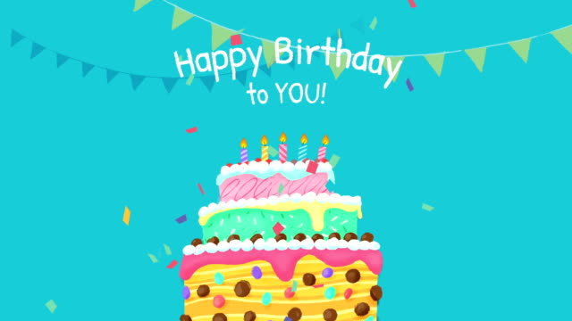 Happy Birthday Cake with text, 2D animation Happy Birthday Cake with text, 2D animation happy birthday stock videos & royalty-free footage
