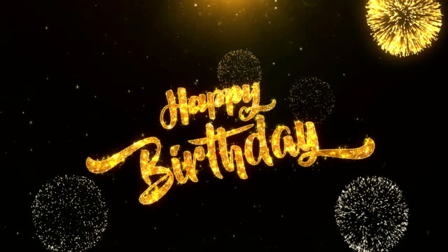 Happy birthday Greeting Card text Reveal from Golden Firework & Crackers on Glitter Shiny Magic Particles Sparks Night for Celebration, Wishes, Events, Message, holiday, festival video