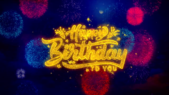 happy birthday greeting text sparkle particles on colored fireworks - thank you background filmów i materiałów b-roll