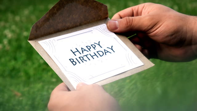 Happy Birthday Letter 4K, 29.97P, Real Time, Close-Up gripping stock videos & royalty-free footage