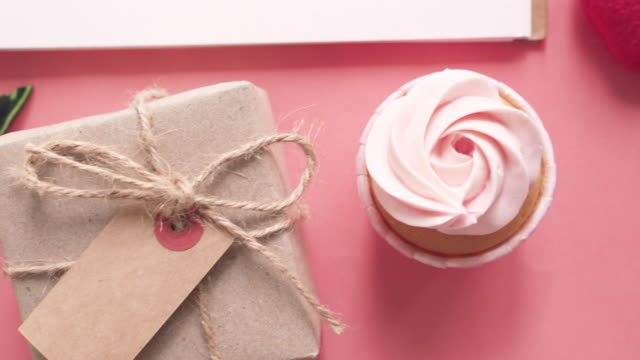 Happy birthday stuffs with cake and gift box