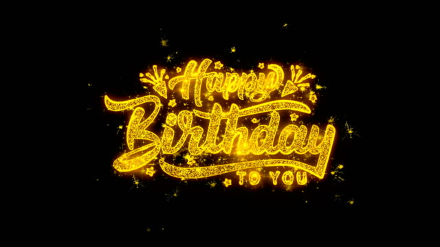 happy birthday typography written with golden particles sparks fireworks - thank you background filmów i materiałów b-roll