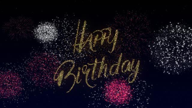 Happy Birthday Happy Birthday background. 4k design fireworks template gold. Celebrate birthday background stock videos & royalty-free footage