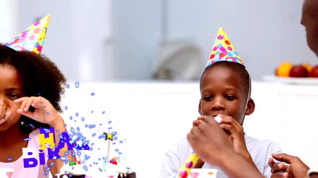 grattis på födelsedagen skrivet över födelsedagsfest - moods vector boy bildbanksvideor och videomaterial från bakom kulisserna