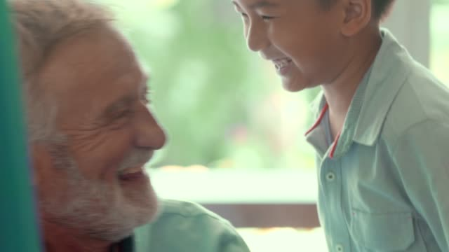 happy boy and great grandfather - orecchio umano video stock e b–roll