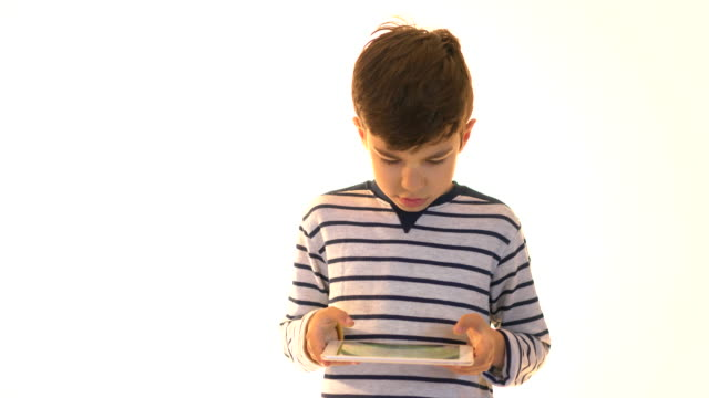 Happy Boy with Digital Tablet on White Background video