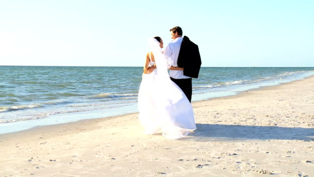 happy bride & groom - wedding fashion stock videos and b-roll footage