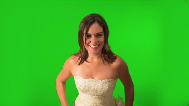 Happy Bride Running towards the Camera. Shot on Green Screen video