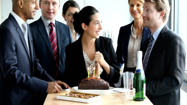 happy business people celebrating birthday - office party stock videos and b-roll footage