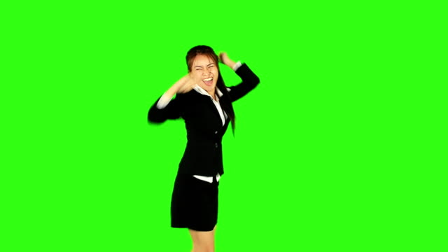 happy business woman dancing with green screen background - office party stock videos and b-roll footage