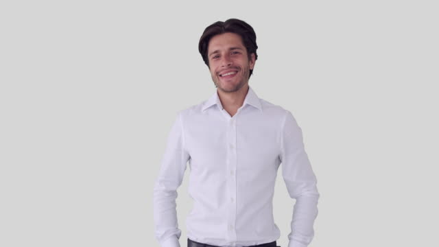 Happy businessman over white background Happy businessman with arms crossed over white background arms akimbo stock videos & royalty-free footage