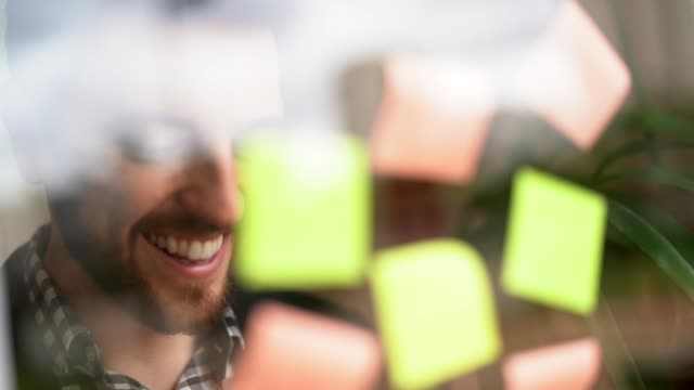 Happy businessman working in the office and having ideas using post-its