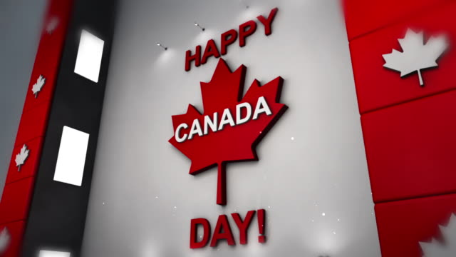 happy canada day - 3d render - canada day stock videos & royalty-free footage