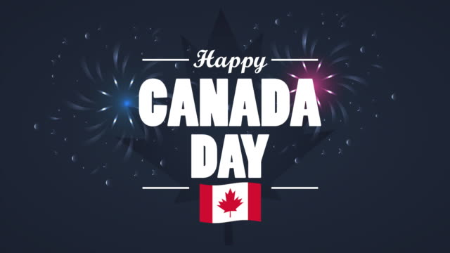 happy canada day celebration with flag and lettering - canada day stock videos & royalty-free footage