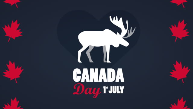 happy canada day celebration with lettering and reindeer in maple leafs frame canada day celebration with lettering and reindeer in maple leafs frame ,FullHD video animation canada day videos stock videos & royalty-free footage