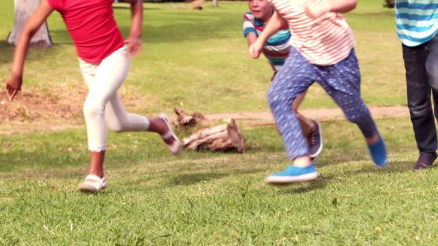 Happy children having a sprint video