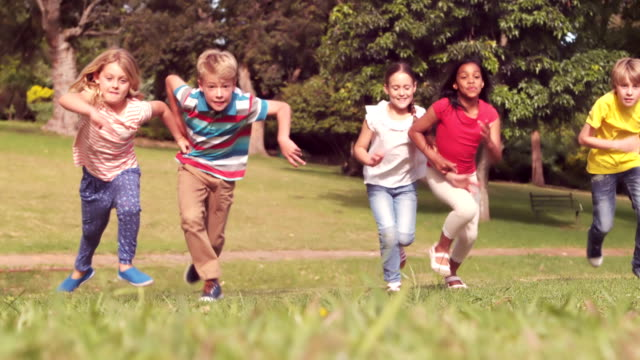 Happy children having a sprint video