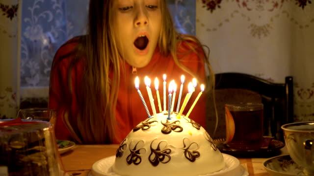 Happy children with birthday cake video