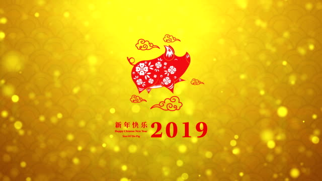 Happy Chinese New Year 2019 year of the pig with golden background decoration, Zodiac Happy Chinese New Year 2019 year of the pig with golden background decoration, Zodiac chinese new year stock videos & royalty-free footage