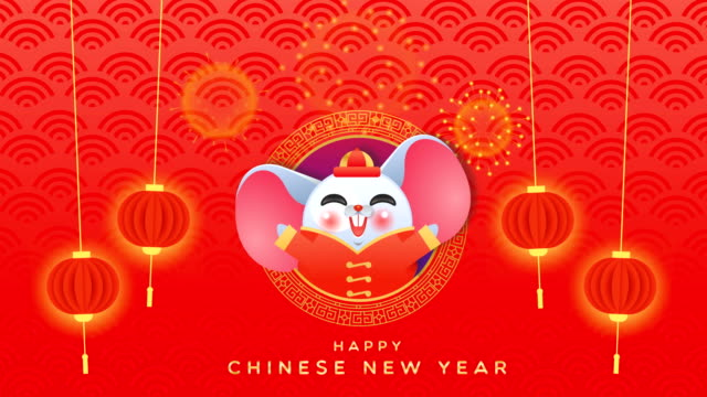 Happy Chinese new year 2020 rat character animation Happy Chinese New Year of the rat cartoon animation, cute mouse animal in costume with traditional China asian lantern. Funny animated video card 4k loop able footage. chinese new year stock videos & royalty-free footage