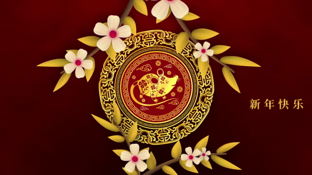 Happy Chinese New Year 2020 year of the rat with flowers and red background decoration, Zodiac Chinese characters mean Happy New Year, wealthy, Happy Chinese New Year 2020 year of the rat with flowers and red background decoration, Zodiac Chinese characters mean Happy New Year, wealthy, chinese new year stock videos & royalty-free footage