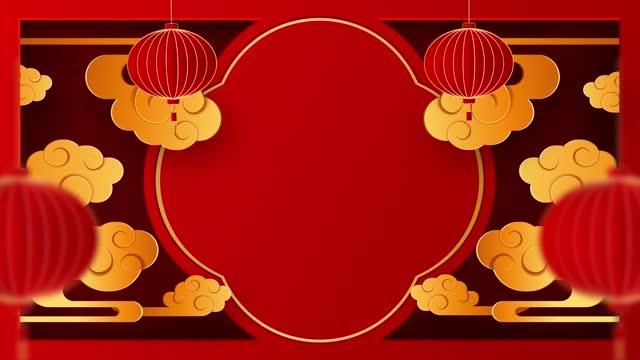 中國新年快樂 2021 牛十二生肖標誌,新年快樂 2021 。以金色剪紙藝術和工藝風格在紅色背景。燈籠和亞洲元素與工藝風格。帶複製空間的 4k 迴圈視頻 - chinese new year 個影片檔及 b 捲影像