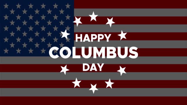 happy columbus day animated banner or greeting card with appearing text and stars - columbus day filmów i materiałów b-roll