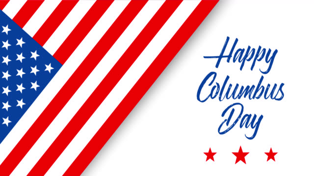 happy columbus day animated greeting card or banner with handwriting text, appearing stars and american flag - columbus day filmów i materiałów b-roll