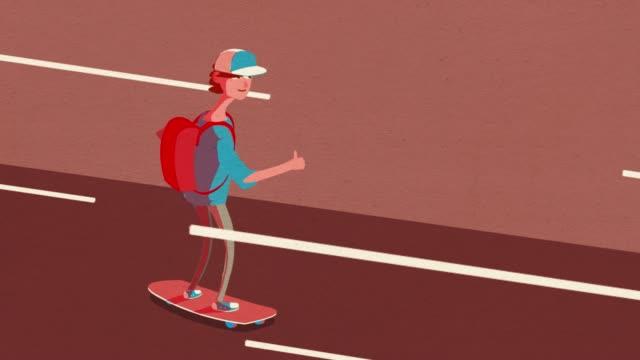 Happy Cool Skateboarder Animation