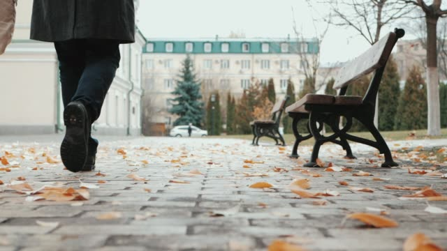 Happy couple in warm coats walking in historic center of european city in autumn. Fall colors, yellow leaves on earth. Slow motion, bottom view video