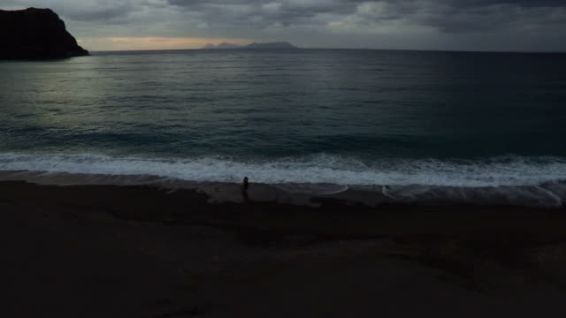 Happy Couple Run On The Beach video