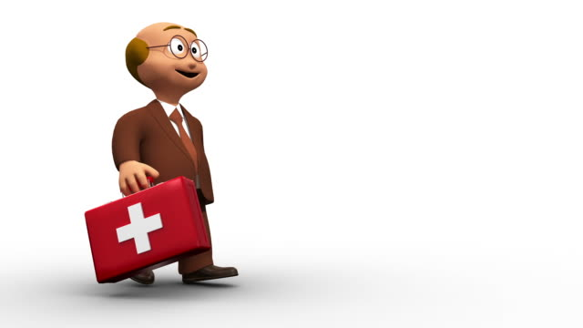 Happy Cute 3D Doctor Character Walking With First Aid Kit video