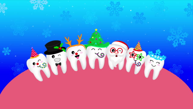 幸せなかわいい漫画の歯の雪片、サンタクロース、クリスマスの木、鹿、雪だるま。 - 歯科点の映像素材/bロール