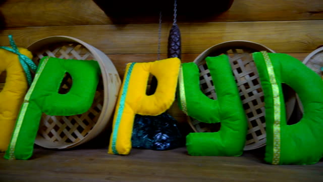 happy day from felt letters on fireplace - feltro video stock e b–roll