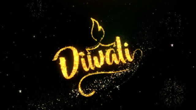 Happy dipawali Greeting and Wishes card Made from Glitter Particles and Sparklers Light Dark Night Sky With Colorful Firework 4k Background. video