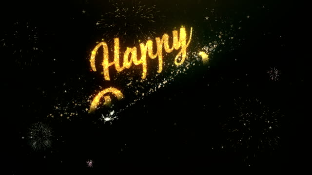 Happy dipawali Greeting Text Made from Sparklers Light Dark Night Sky With Colorfull Firework. video