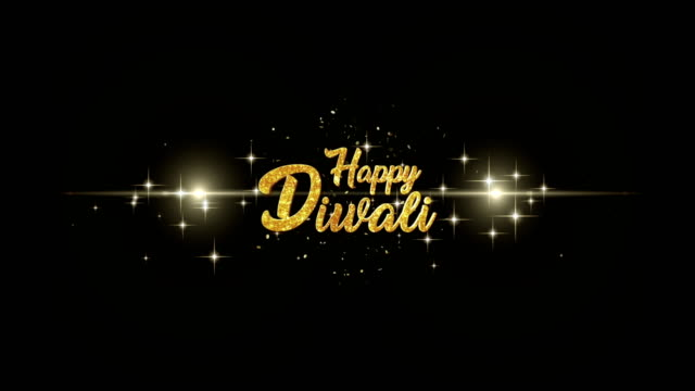 Happy Diwali Beautiful golden greeting Text Appearance from blinking particles with golden fireworks background. video
