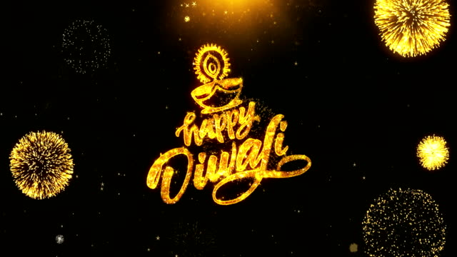 Happy Diwali Dipawali Text Greeting, Wishes with Golden Shining Glitter Star Dust Sparks Blinking Particles Fireworks display on Black Night Background. celebration, greeting card, invitation card. 23 video