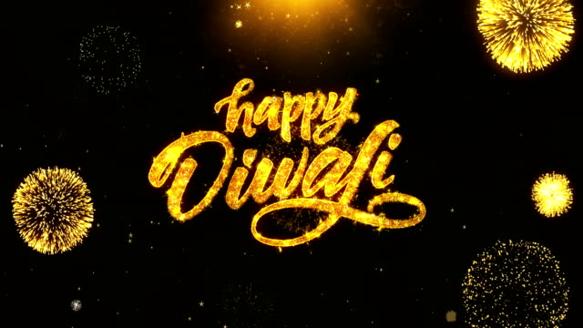 Happy Diwali Dipawali Text Greeting, Wishes with Golden Shining Glitter Star Dust Sparks Blinking Particles Fireworks display on Black Night Background. celebration, greeting card, invitation card. 26 video