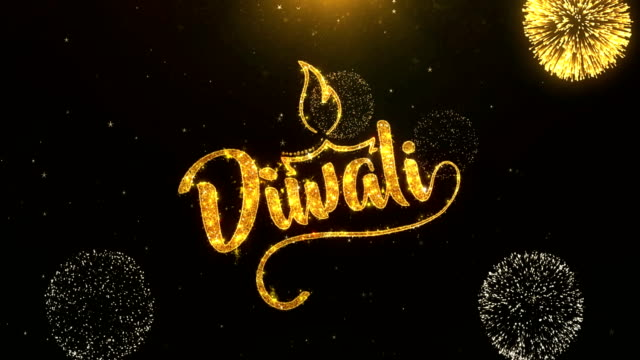 Happy Diwali Greeting Card text Reveal from Golden Firework & Crackers on Glitter Shiny Magic Particles Sparks Night for Celebration, Wishes, Events, Message, holiday, festival video