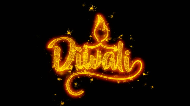 Happy Diwali text with Golden Shining Glitter Star Dust Wave of Trail Sparks Blinking Particles Fireworks. Shubh Deepavali Light and Fire Festival lights Greeting Card .1 video