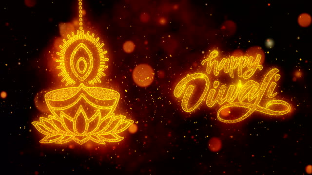 Happy Diwali text with Golden Shining Glitter Star Dust Wave of Trail Sparks Blinking Particles Fireworks. Shubh Deepavali Light and Fire Festival lights Greeting Card _3 video