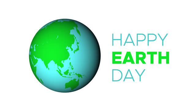 Happy Earth Day Greeting Animated Text with 3D Rotating Planet Happy Earth Day Greeting Animated Text with 3D Rotating Planet Isolated on White Background earth day stock videos & royalty-free footage