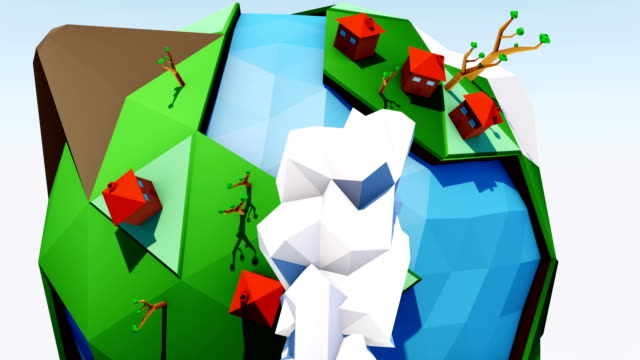 Happy earth. Low polygonal geometric trees.  Abstract vector video, low poly style. Stylized design element